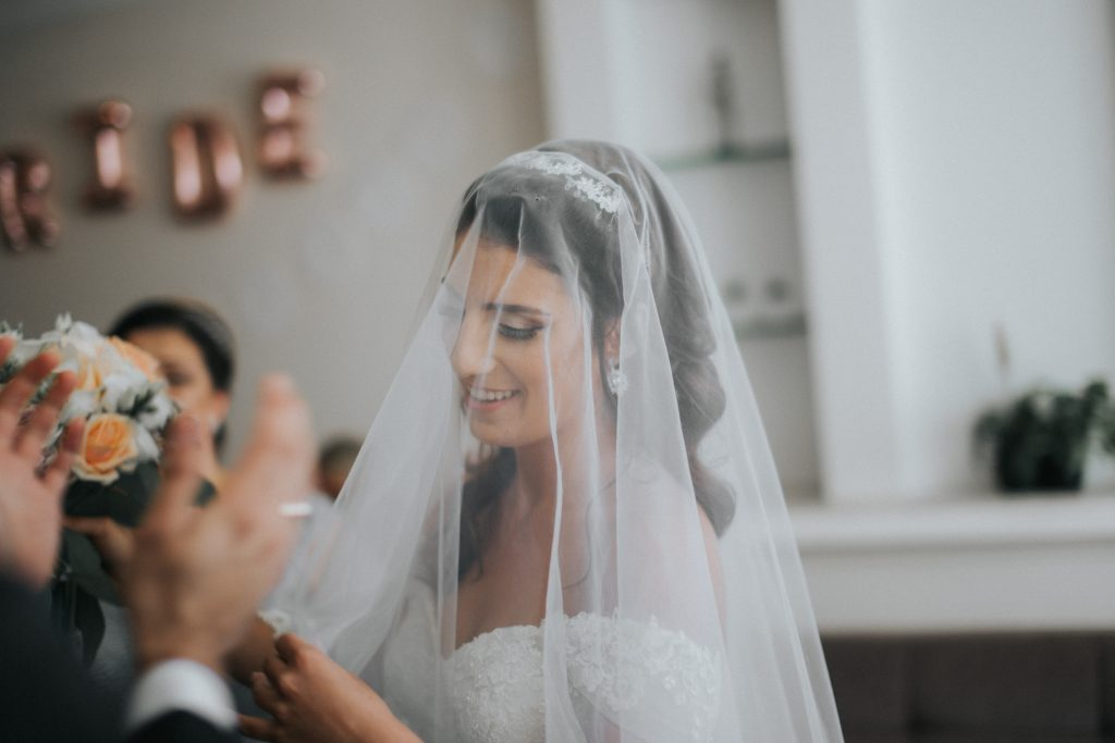 Wearing a veil at a wedding