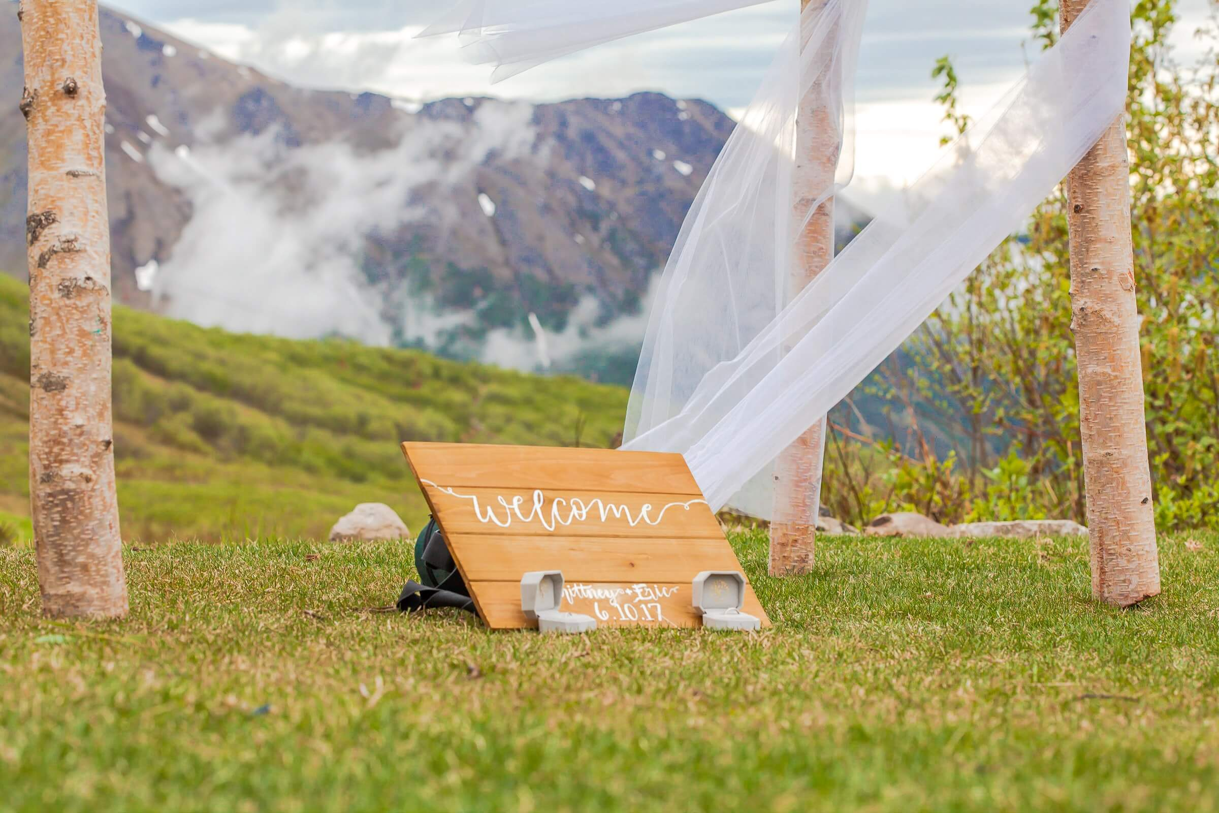 outdoor wedding ideas on a budget welcome sign